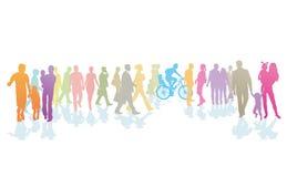 Ilustração da multidão de povos coloridos ilustração stock
