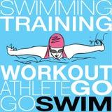 Ilustração da natação da menina no estilo do curso de borboleta Foto de Stock