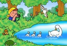 Ilustração da natureza do tiro do menino Imagem de Stock Royalty Free