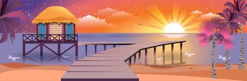 Ilustração da noite de verão ensolarada feliz na praia com bungalows Imagem de Stock Royalty Free