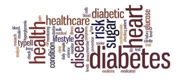 Ilustração da nuvem da etiqueta da palavra do diabetes fotos de stock royalty free