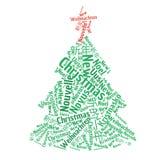 Ilustração da nuvem da palavra da árvore de Natal Foto de Stock Royalty Free