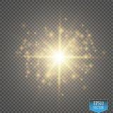 Ilustração da onda do brilho do ouro do vetor Partículas efervescentes da fuga da poeira de estrela do ouro isoladas no fundo tra ilustração do vetor