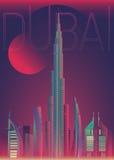Ilustração da opinião da noite da cidade de Dubai do desenho Fotografia de Stock Royalty Free