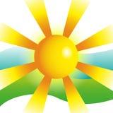 Ilustração da opinião do por do sol, férias da praia do mar Fotos de Stock