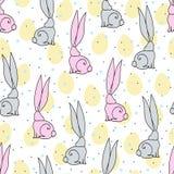 Ilustração da Páscoa com coelhos e ovos Fotografia de Stock Royalty Free
