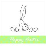 Ilustração da Páscoa com coelhos e ovos Imagens de Stock Royalty Free