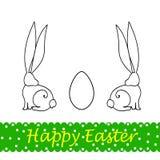 Ilustração da Páscoa com coelhos e ovos Imagem de Stock