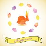 Ilustração da Páscoa com coelhos e ovos Imagens de Stock
