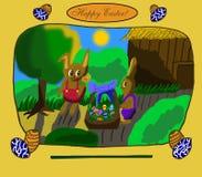 Ilustração da Páscoa - dois coelhos com ovos coloridos Fotografia de Stock Royalty Free