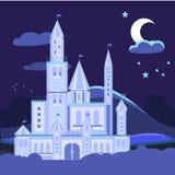 Ilustração da paisagem da noite com vetor do castelo Fotografia de Stock