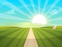 ilustração da paisagem dos desenhos animados Sun estrada, nuvem, monte fotos de stock