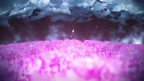Ilustração da paisagem da floresta da mola, fundo abstrato da natureza, animação do laço da flor de cerejeira, filme