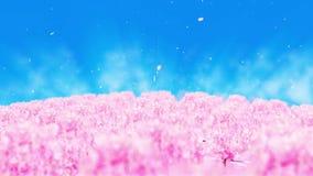 Ilustração da paisagem da floresta da mola, fundo abstrato da natureza, animação do laço da flor de cerejeira, ilustração do vetor