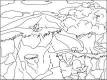 Ilustração da paisagem para crianças colorindo Ilustração do Vetor