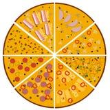 Ilustração da pizza saboroso Fatias de pizzas diferentes ajustadas Fotografia de Stock