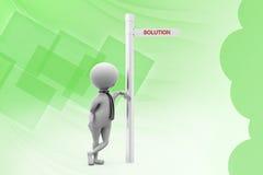 ilustração da placa do sinal da solução do homem 3d Foto de Stock