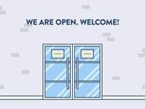 Ilustração da porta, vista da parte externa Nós estamos abertos Imagens de Stock