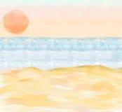 Ilustração da praia com areia e oceano Fotografia de Stock