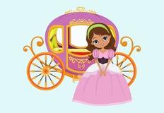 Ilustração da princesa feliz com transporte real Imagens de Stock Royalty Free