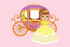 Ilustração da princesa feliz com transporte real Fotografia de Stock Royalty Free