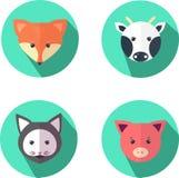 Ilustração da raposa, do gato, da vaca e do porco ilustração royalty free