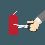 A ilustração da redução de preço, preço do corte da mão com Scissor Imagens de Stock