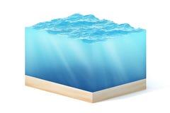 ilustração da rendição 3d do seção transversal do cubo da água isolado no branco com sombra Foto de Stock Royalty Free