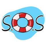 Ilustração da roda S.O.S do salvamento no fundo azul Foto de Stock