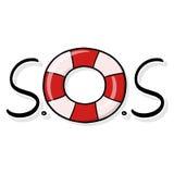 Ilustração da roda S.O.S do salvamento no fundo azul Foto de Stock Royalty Free