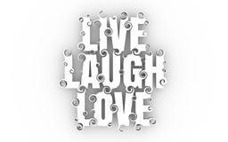 Ilustração da rotulação com texto de Live Laugh Love ilustração stock