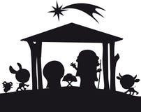 Ilustração da silhueta da natividade do Natal ilustração stock