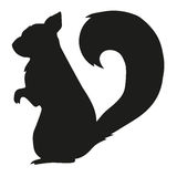 Ilustração da silhueta do vetor do esquilo Imagens de Stock