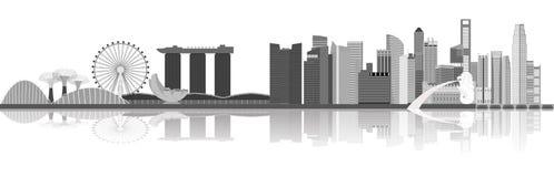 Ilustração da skyline da cidade de Singapura imagens de stock