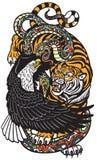 Ilustração da tatuagem da serpente e do tigre de Eagle ilustração do vetor