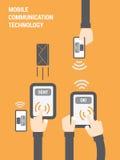 Ilustração da tecnologia de comunicação móvel Foto de Stock
