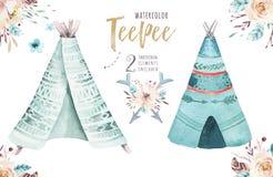 Ilustração da tenda da aquarela Cópia orgânica boêmia do xixi do T do projeto do Watercolour colora a arte nativa do boho com mão Fotos de Stock