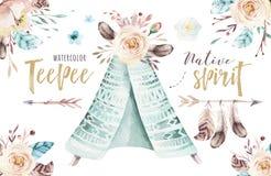 Ilustração da tenda da aquarela Cópia orgânica boêmia do xixi do T do projeto do Watercolour colora a arte nativa do boho com mão Imagens de Stock
