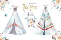 Ilustração da tenda da aquarela Cópia orgânica boêmia do xixi do T do projeto do Watercolour colora a arte nativa do boho com mão Foto de Stock Royalty Free