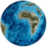 Ilustração da terra, com continentes reduzidos e muita água em consequência das alterações climáticas ilustração do vetor