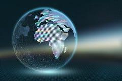 Ilustração da terra 3D do planeta Mapa de pixel transparente com elementos luminosos em um fundo abstrato escuro ilustração royalty free