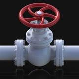 Ilustração da válvula 3D da tubulação de gás Imagem de Stock