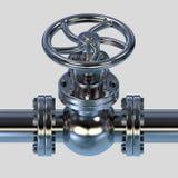Ilustração da válvula 3D da tubulação de gás Fotos de Stock Royalty Free