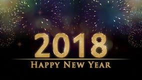 Ilustração da véspera do ` s do ano 2018 novo, cartão com texto dourado do ano novo feliz do brilho dos fogos-de-artifício colori Ilustração Stock