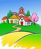 Ilustração da vila Fotos de Stock Royalty Free