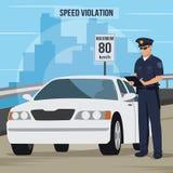 Ilustração da violação de tráfego de alta velocidade ilustração royalty free
