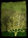 Ilustração das árvores de Grunge - verde Imagens de Stock