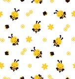 Ilustração das abelhas, fundo sem emenda do vetor Foto de Stock Royalty Free