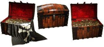 Ilustração das arcas do tesouro 3D do pirata Foto de Stock