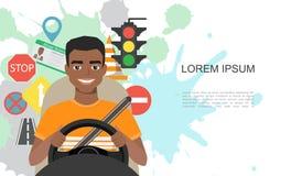 Ilustração das bandeiras de símbolos da estrada e do caráter americano do motorista do homem do africano negro Fotos de Stock